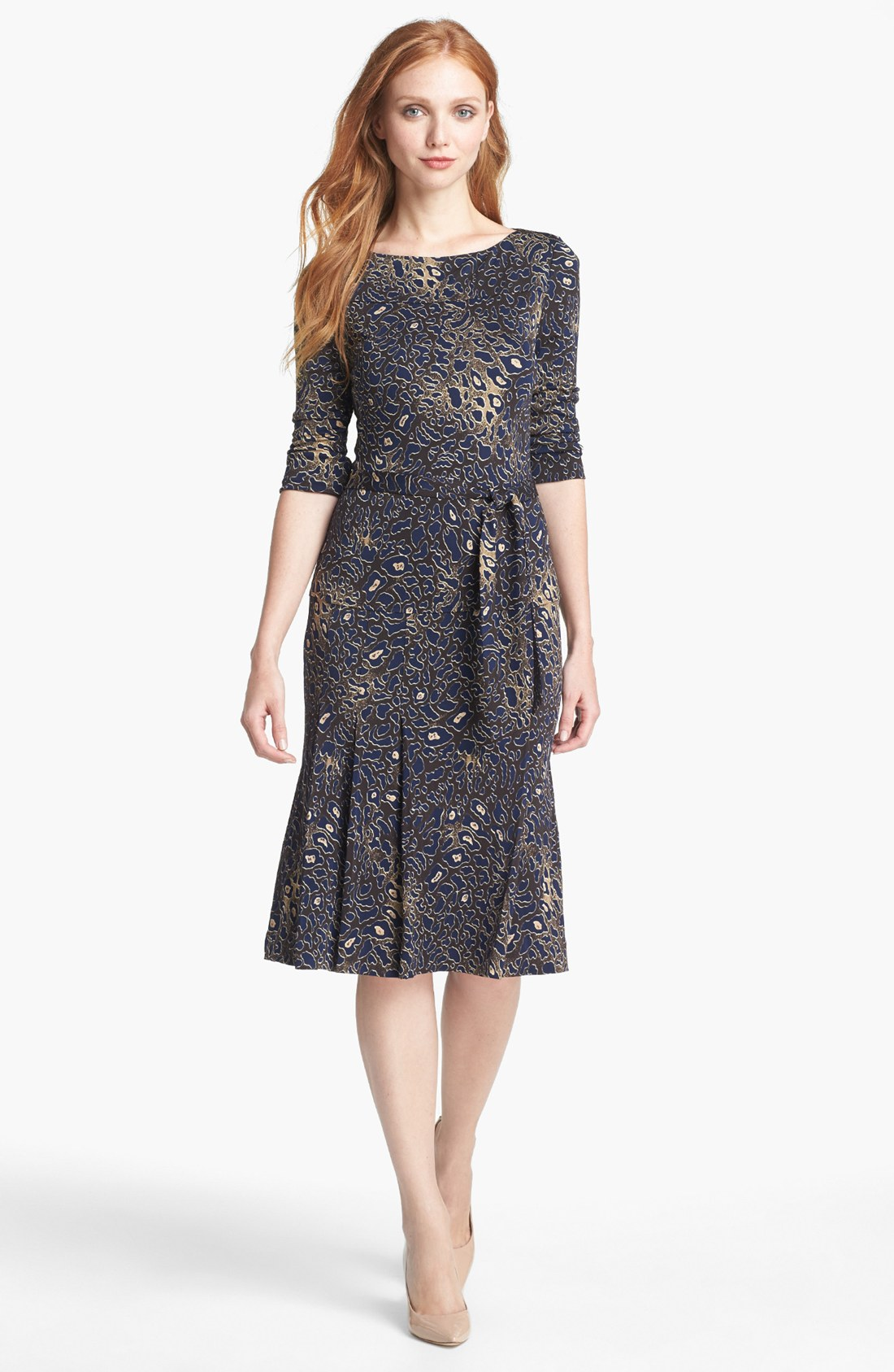 Lyst - Tory Burch Denise Print Pleated Dress In Brown