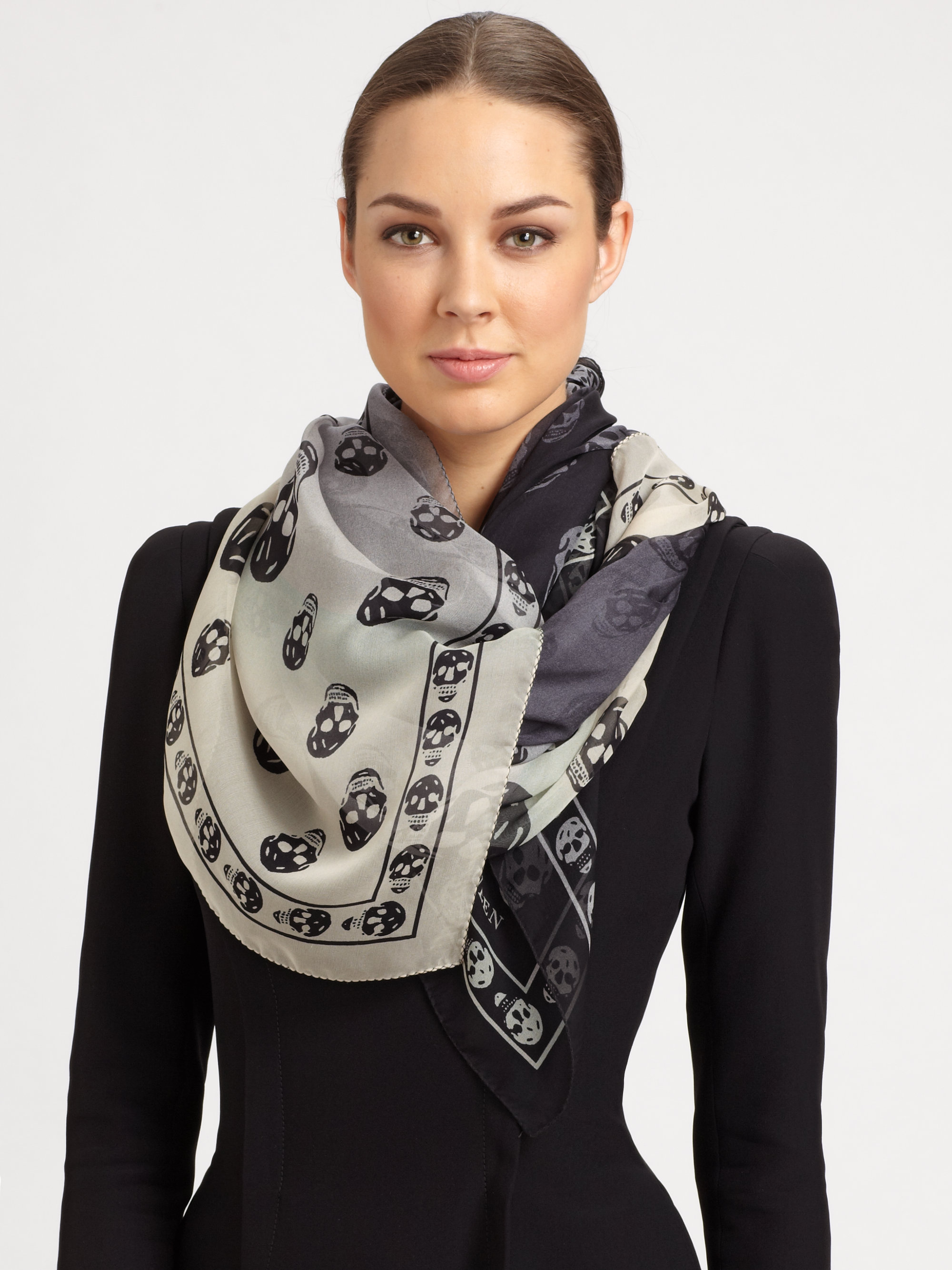 Lyst - Alexander Mcqueen Degrade Skull Silk Scarf in White