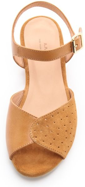 A P C Demi Wedge Sandals In Brown Lyst