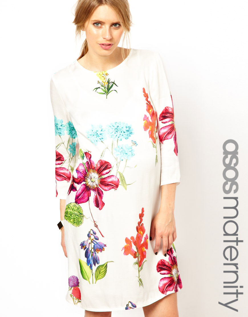Asos shift dress in botanical print lyst gallery ombrellifo Choice Image