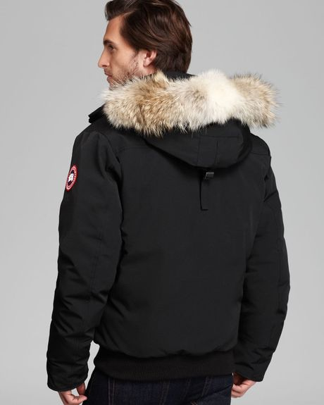 Canada Goose Borden Bomber Parka With Fur Hood In Black