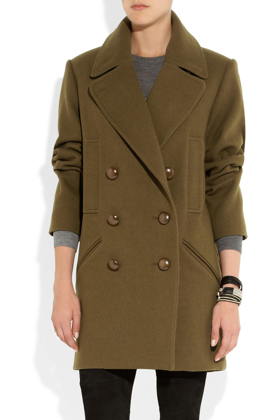 Isabel marant Ziggy Wool-Blend Brushed-Twill Coat in Green | Lyst
