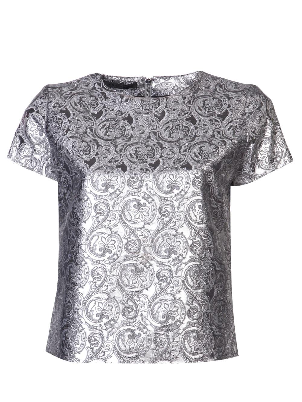 Lyst jenni kayne metallic print top in metallic for Silver metallic shirt women s