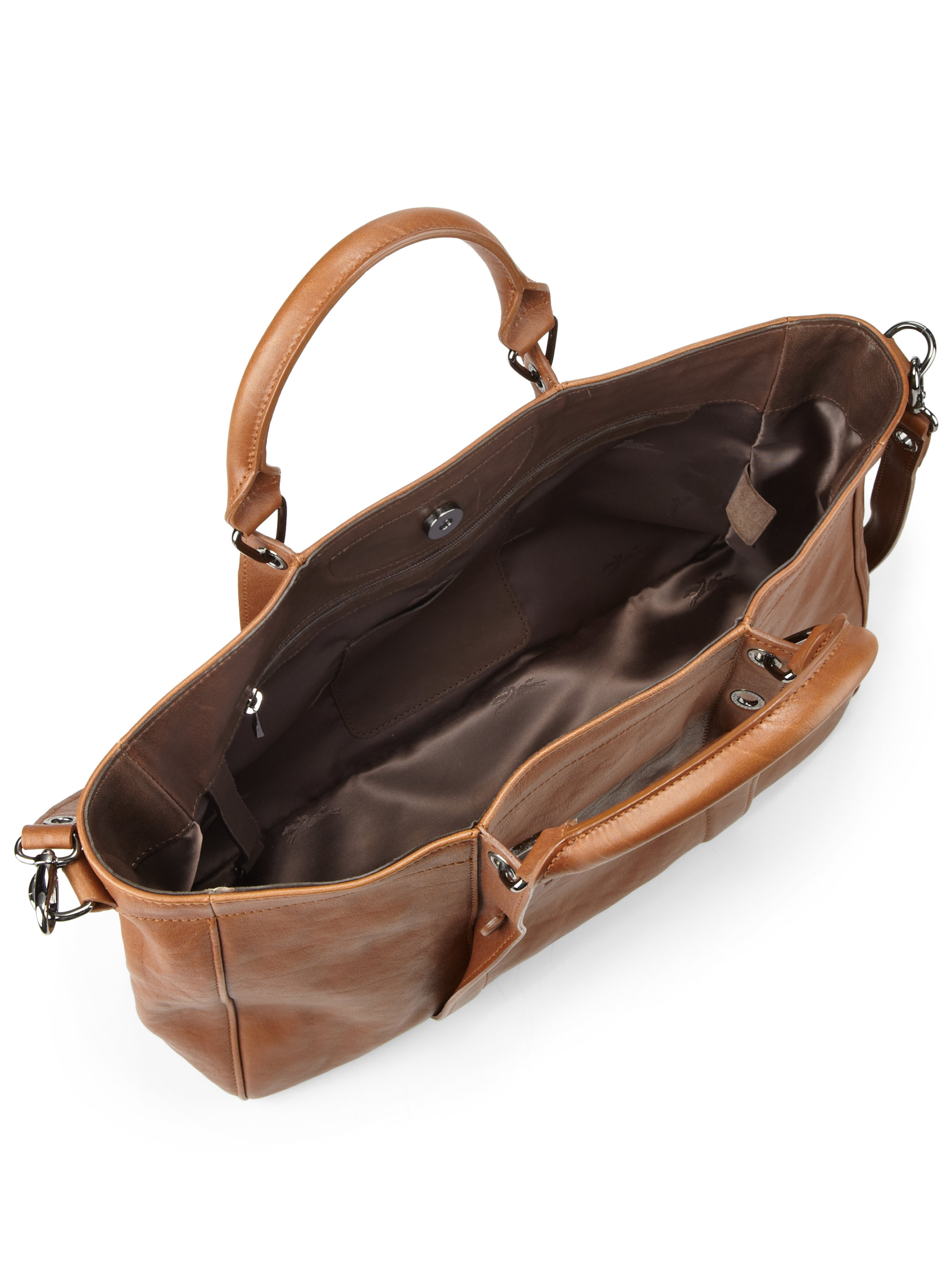 Lyst Longchamp Small Leather Tote Bag In Brown