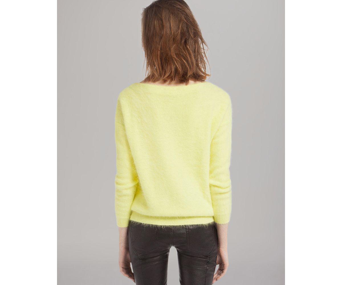 Maje Sweater Origan Angora in Yellow | Lyst