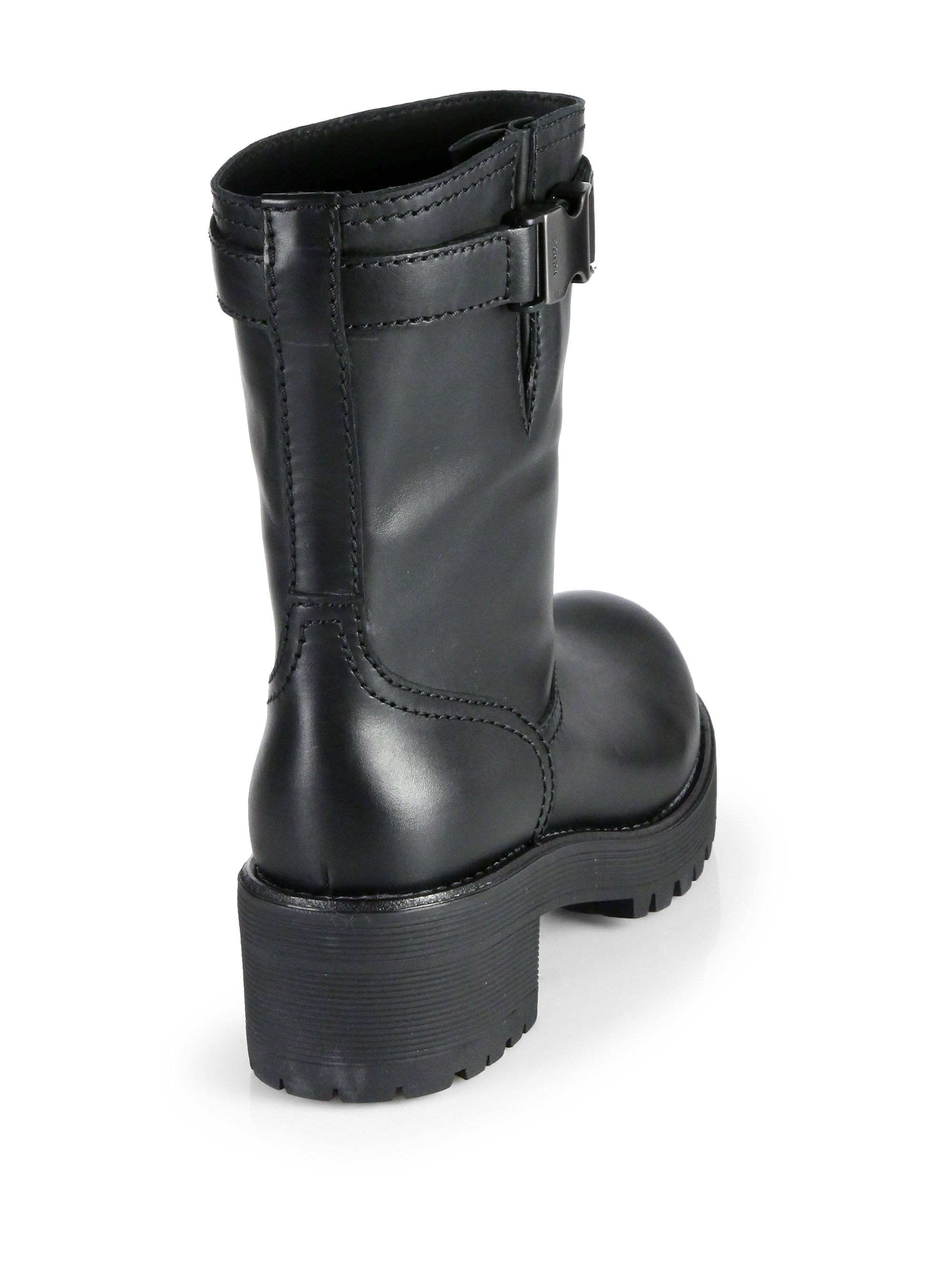 Prada Leather Buckled Boots Buy Cheap Perfect 73Xost7KPW