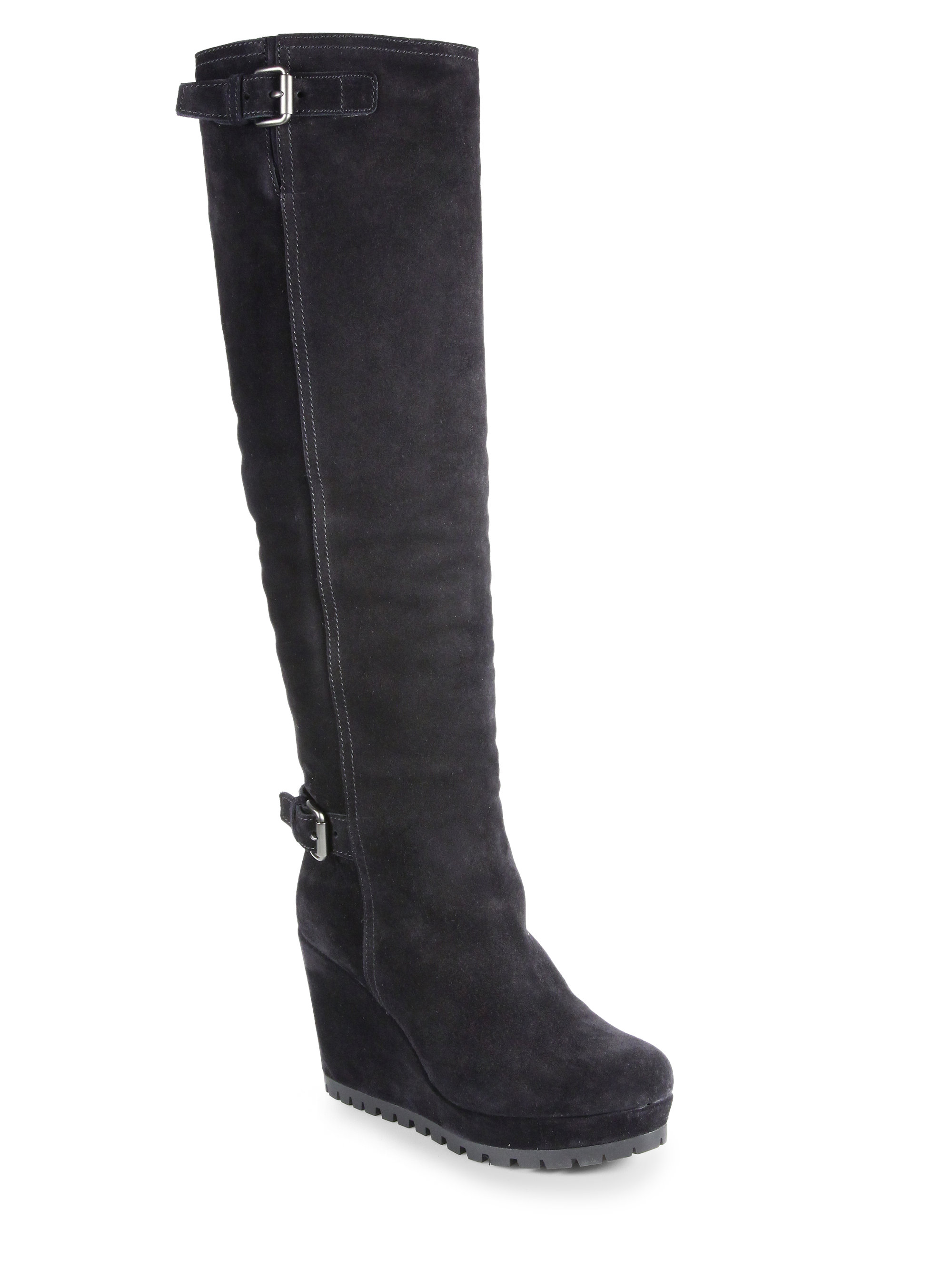 prada suede kneehigh wedge boots in black nero black lyst