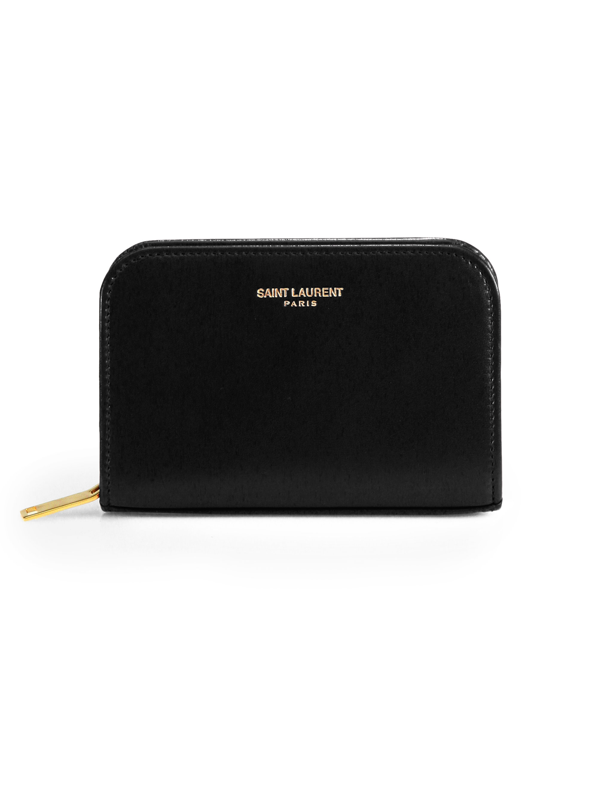 4e910b2bc27 Saint laurent Marquage Zip-around Leather Coin Purse in Black | Lyst