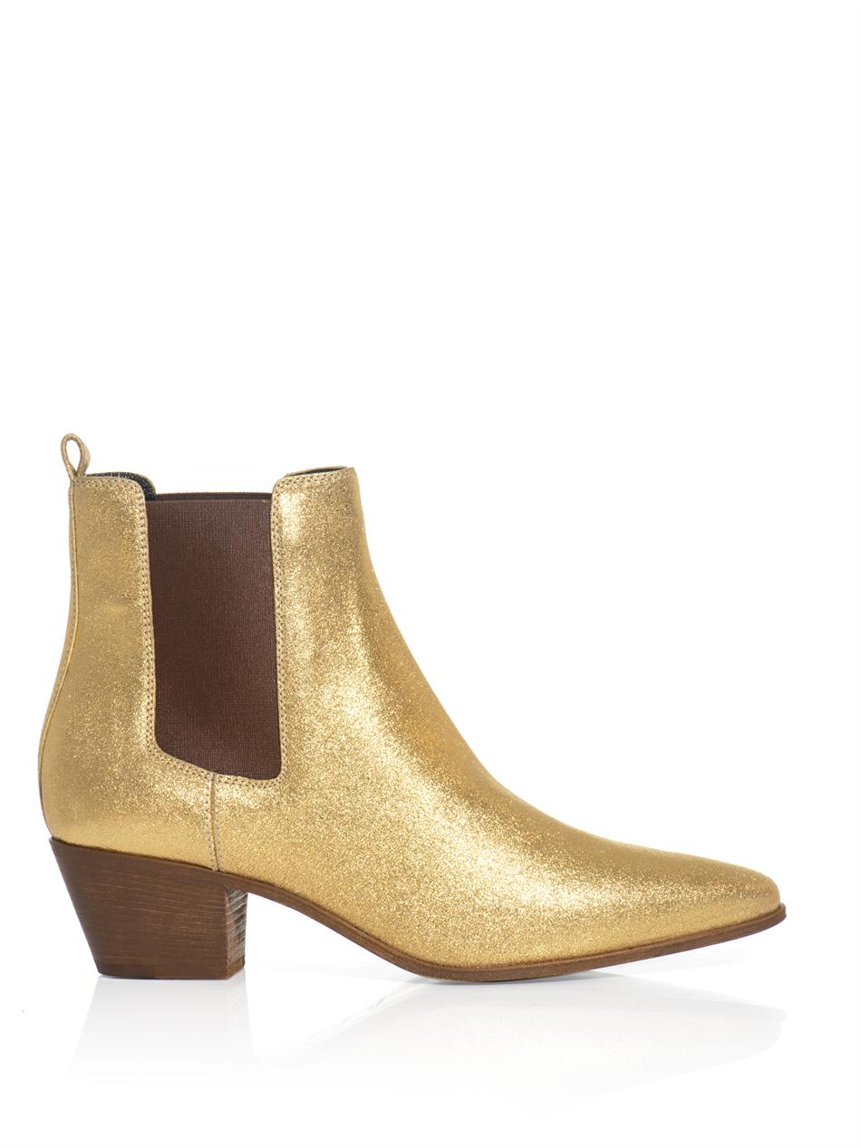 Lyst Saint Laurent Metallic Leather Chelsea Boots In