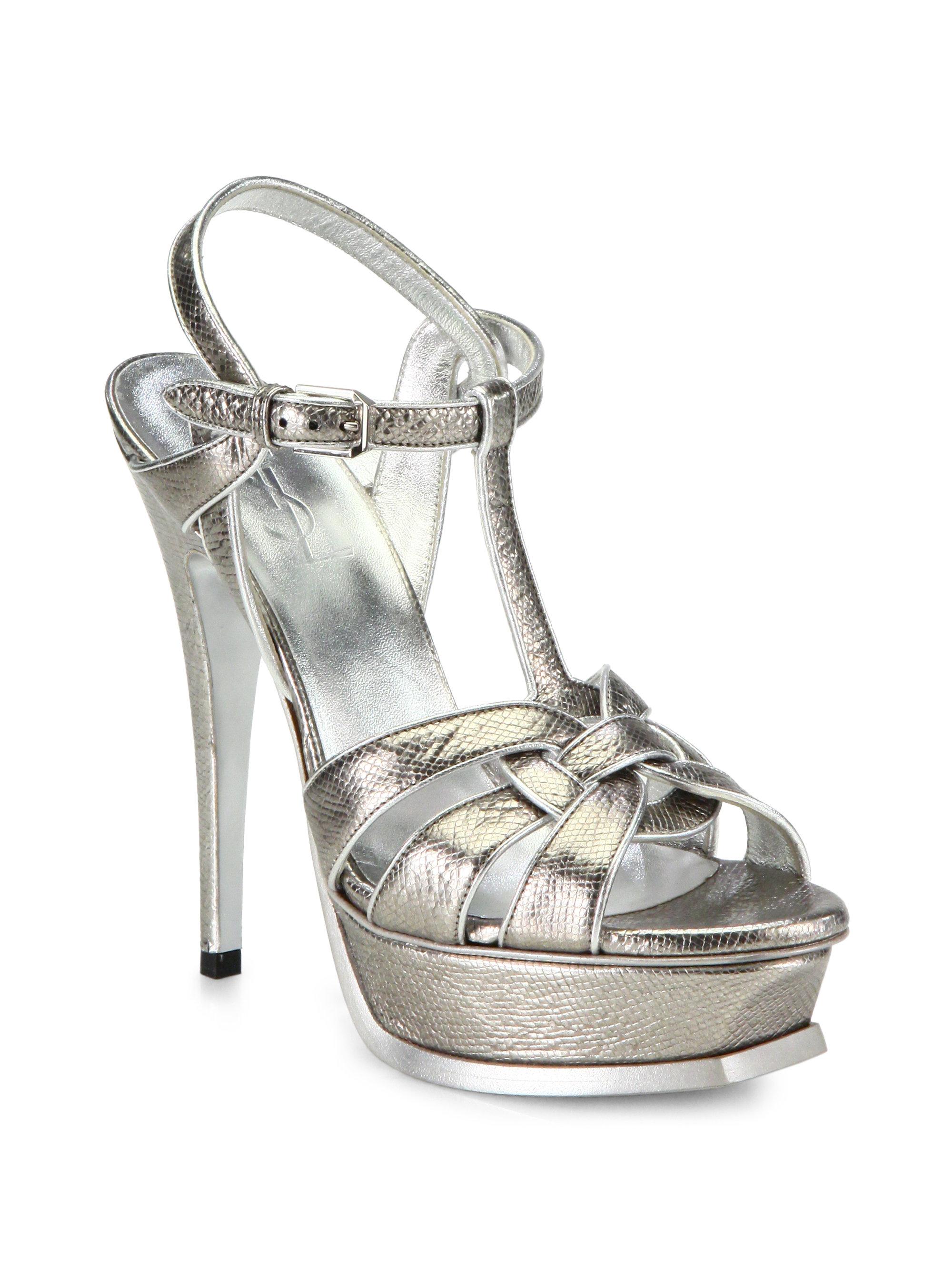 Metallic Silver Platform Heels