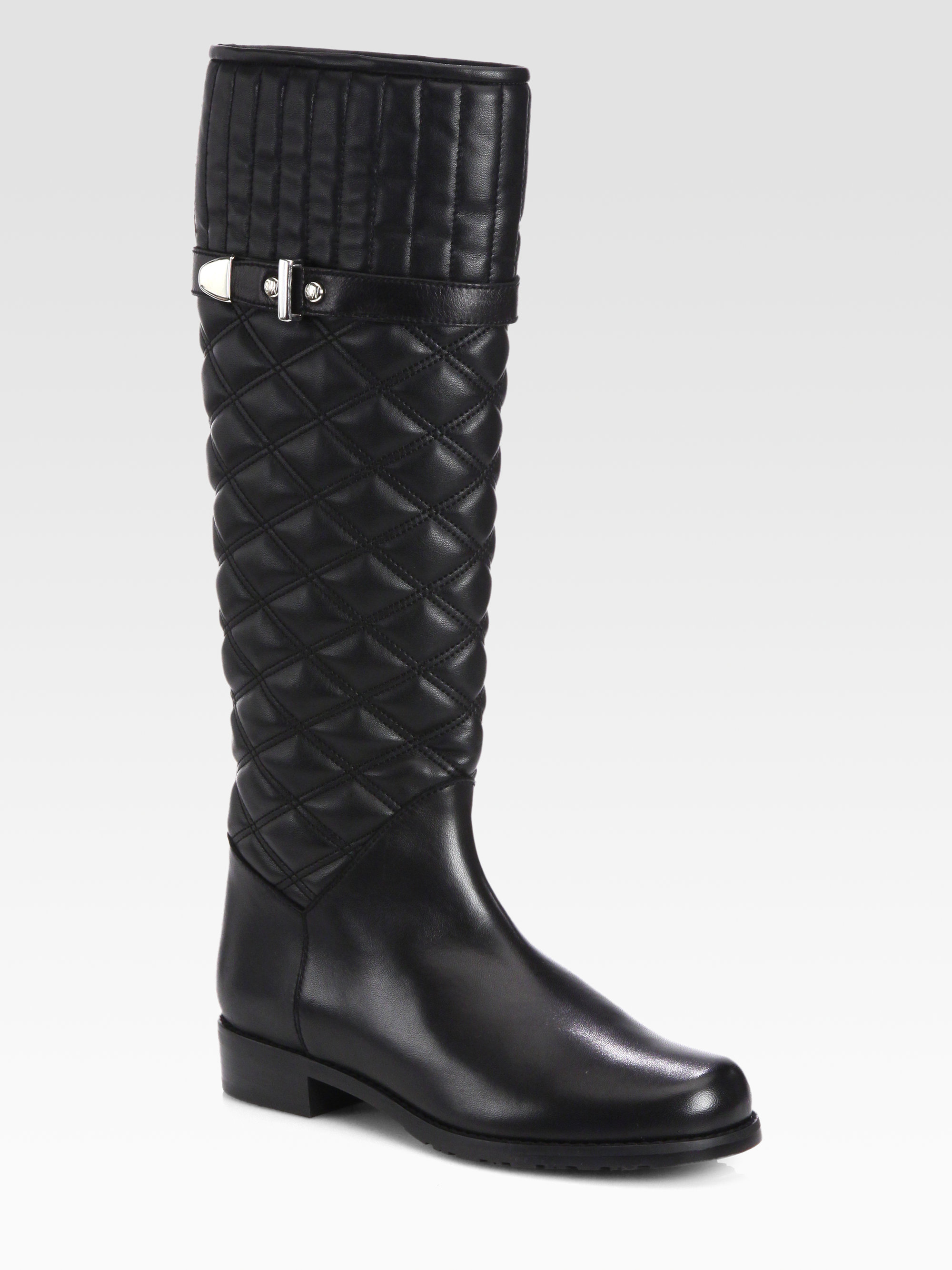 stuart weitzman copilot quilted leather boots in