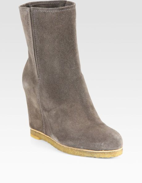 stuart weitzman bootscout suede mid calf wedge boots in