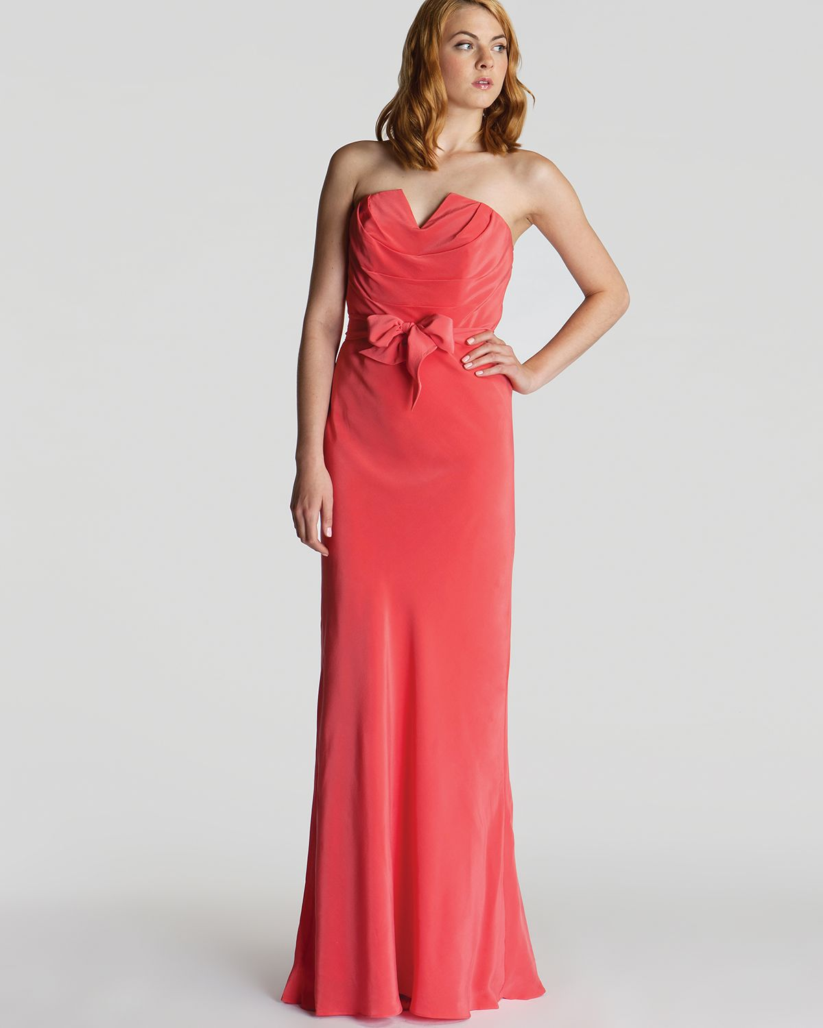 Ted Baker Dress Cassii Strapless Maxi In Coral Orange Lyst
