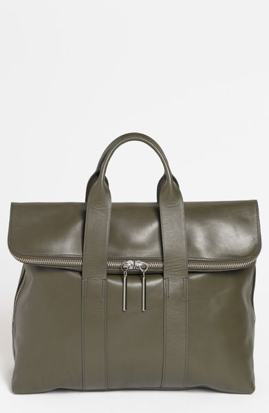 3.1 Phillip Lim 31 Hour Leather Tote in Green (Dark Olive)