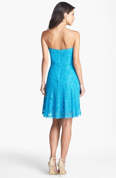 Adrianna Papell Strapless Lace Dress In Blue Pacific Lyst
