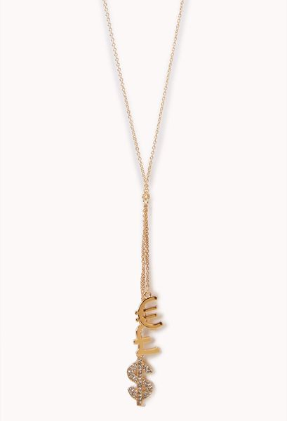forever 21 money sign pendant necklace in gold lyst