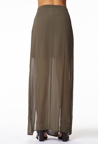 Forever 21 Posh Pleated Maxi Skirt in Green (Olive)