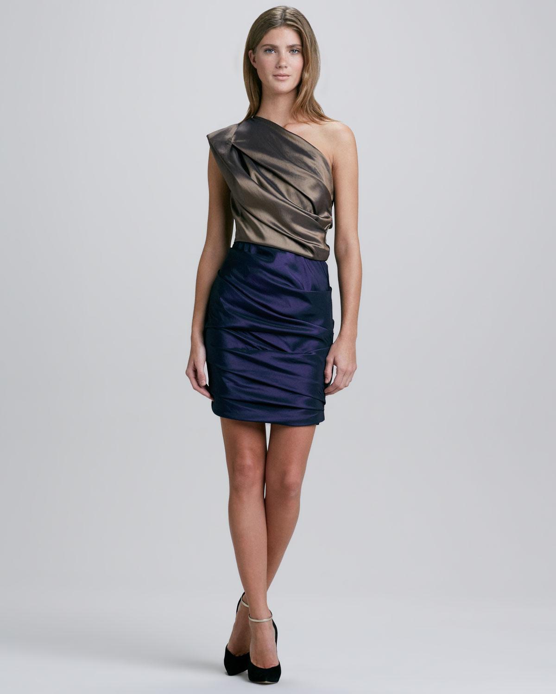 Halston Heritage Ruched Oneshoulder Twotone Dress
