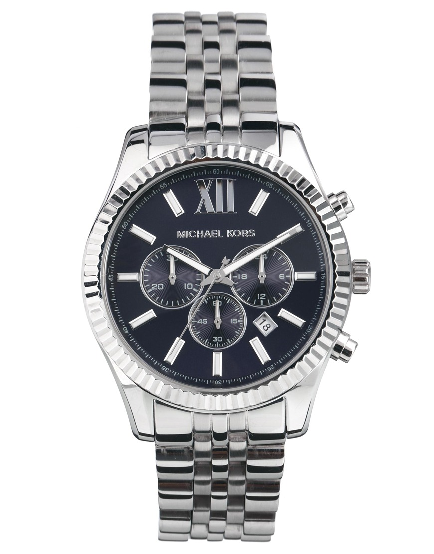 michael kors mk8280 watch lexington chronograph silver in metallic for men lyst. Black Bedroom Furniture Sets. Home Design Ideas