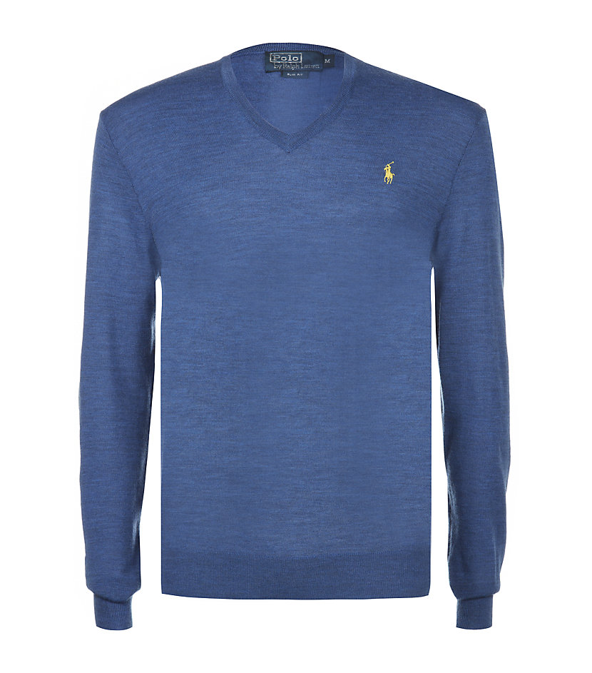 polo ralph lauren slim fit wool sweater in blue for men lyst. Black Bedroom Furniture Sets. Home Design Ideas