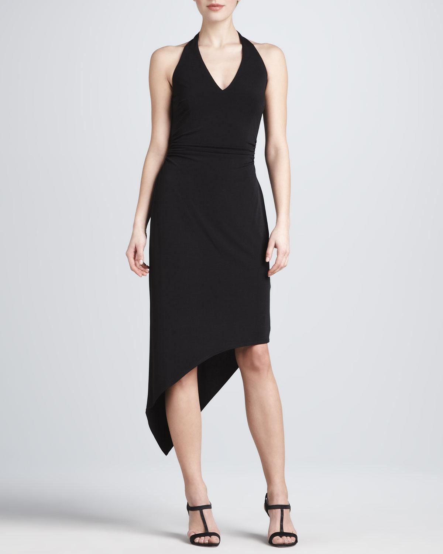 David meister Asymmetric Hem Halter Dress in Black  Lyst