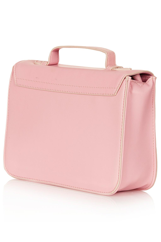 topshop edge paint satchel in pink lyst