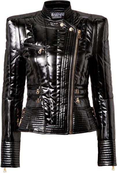 Balmain Quilted Glossy Jacket in Black
