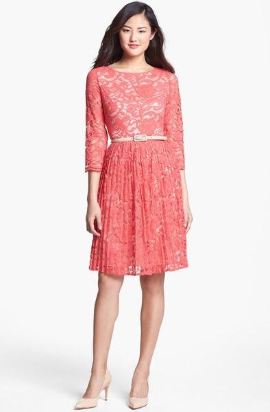 eliza j belted lace fit flare dress in pink coral lyst