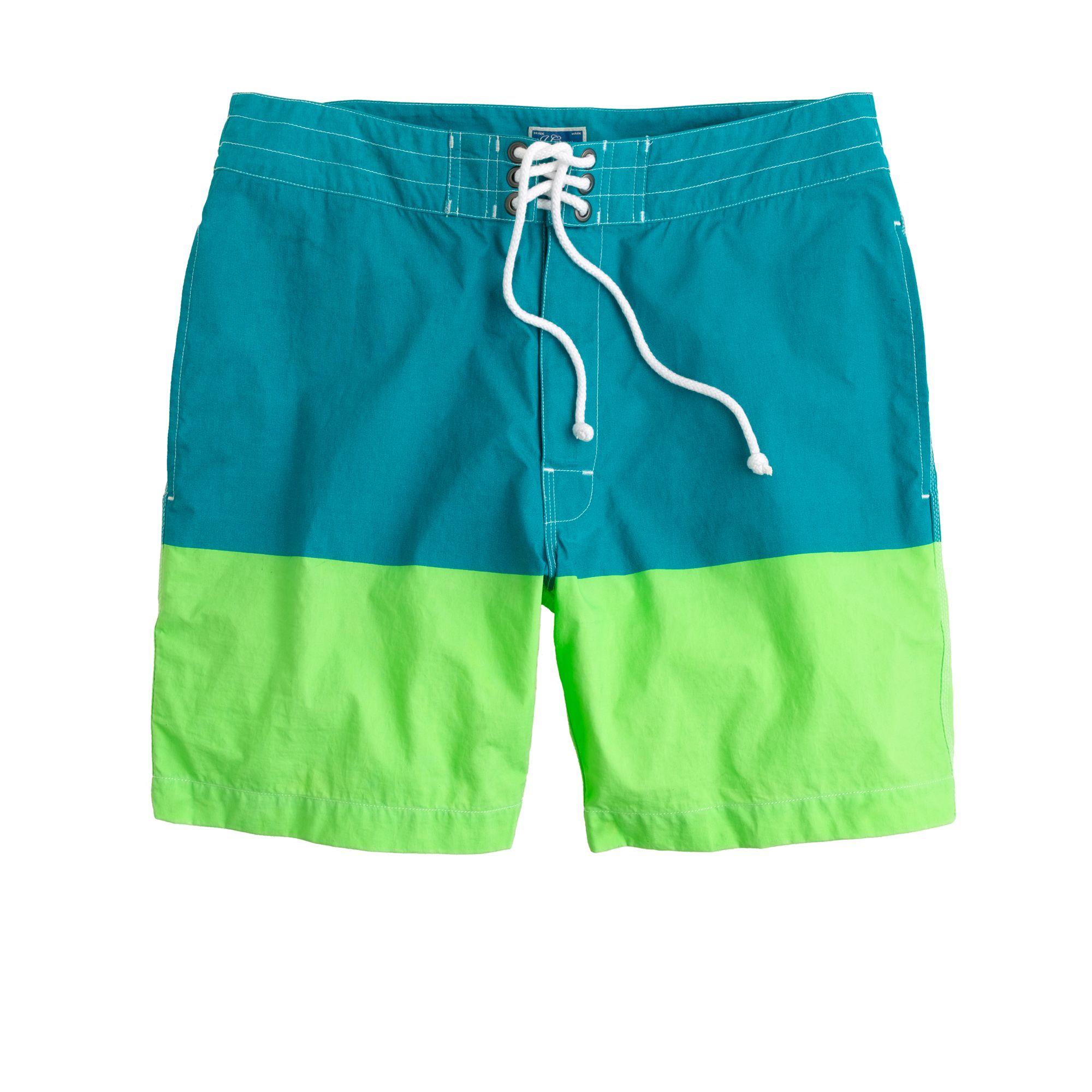 9e3c268159 J.Crew 7 Board Shorts in Colorblock in Green for Men - Lyst