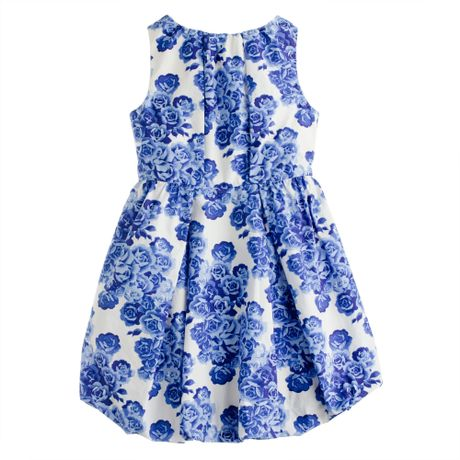 J.crew Girls Poplin Bubble Dress in Tea Rose Print in White (bright indigo)