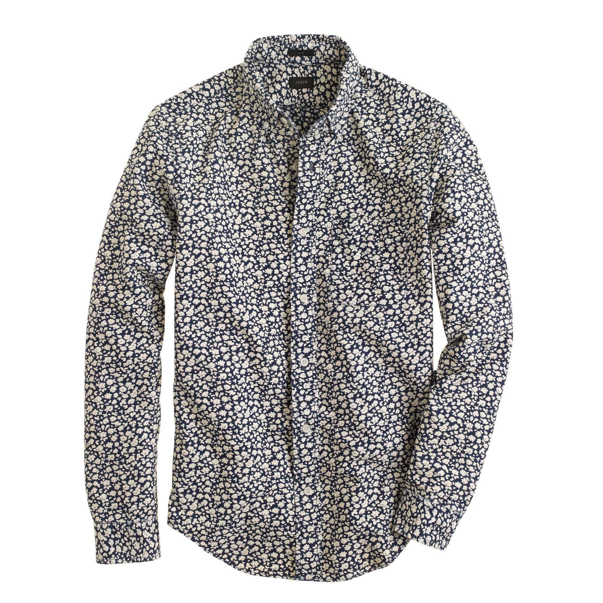Slim indigo floral print shirt in blue for men for Patterned dress shirts for men
