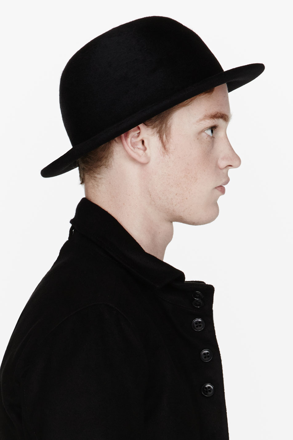 26638f7282a Lyst - Ann Demeulemeester Black Wool Round Hat in Black for Men