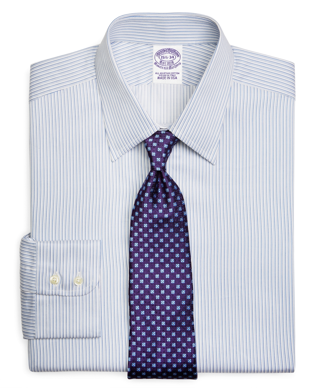 Brooks brothers egyptian cotton regular fit point collar for Mens egyptian cotton dress shirts