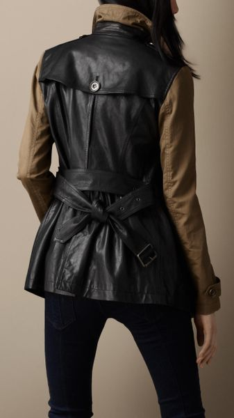 Burberry Short Contrast Sleeve Leather Trench Coat In