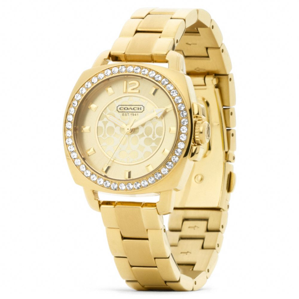 Lyst coach mini boyfriend gold plated crystal bracelet watch in metallic for Watches gold