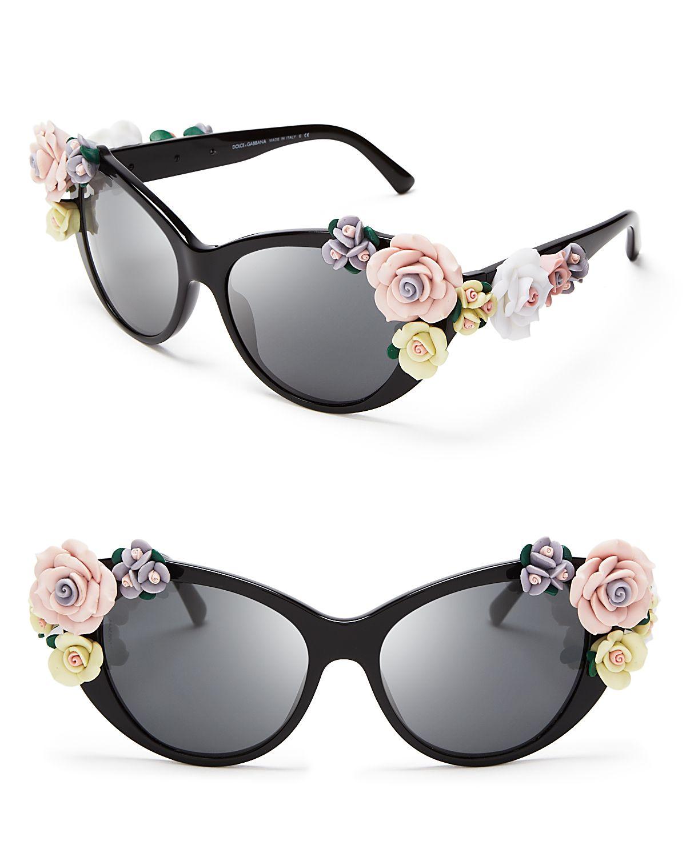 cc42c14393913 Dolce   Gabbana Oversized Floral Cat Eye Sunglasses in Black - Lyst
