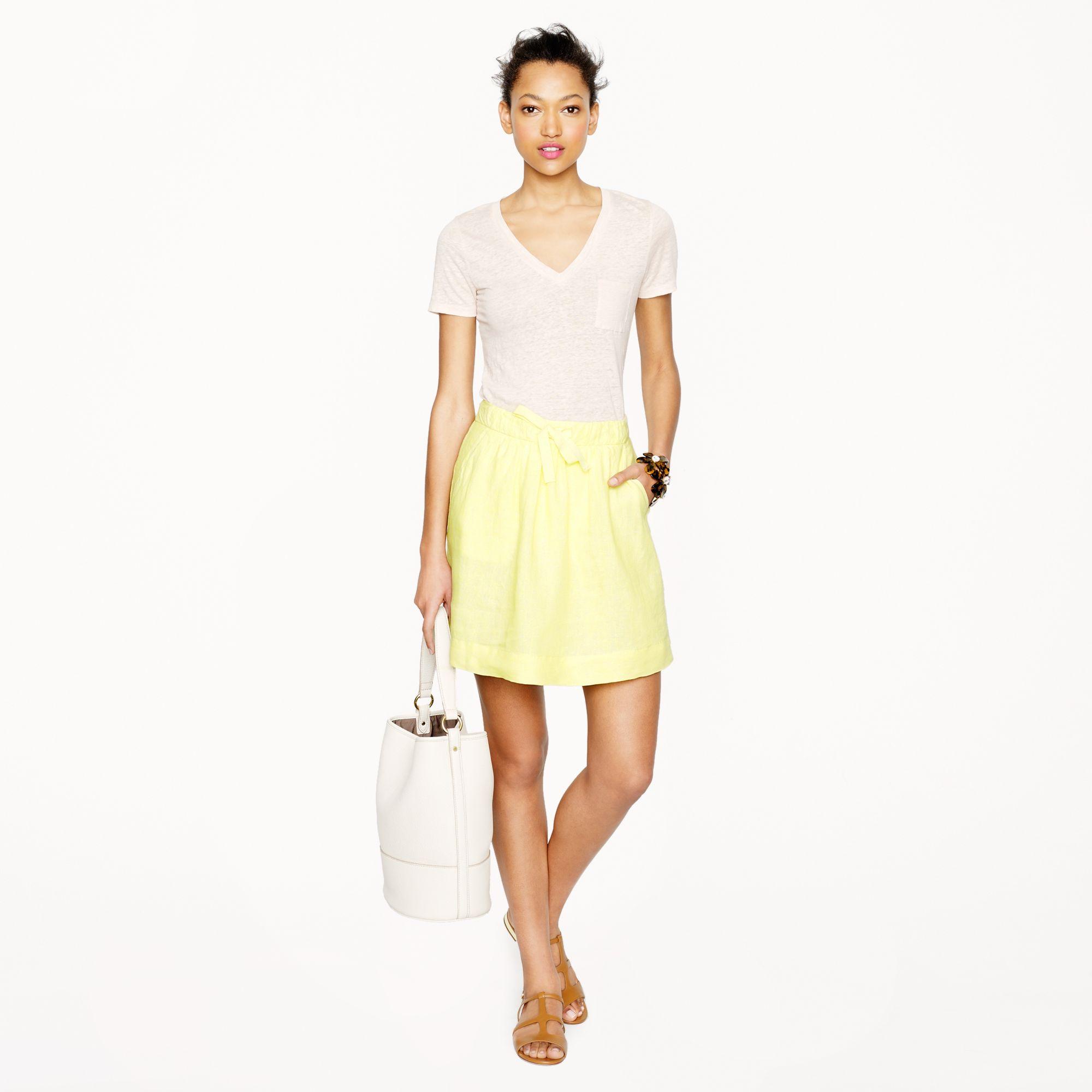 14ef9ea28d3e Lyst - J.Crew Boardwalk Linen Skirt in Yellow