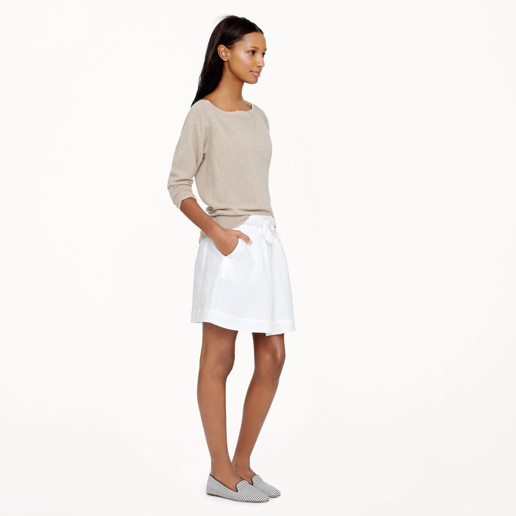 J.crew Boardwalk Linen Skirt in White in White | Lyst
