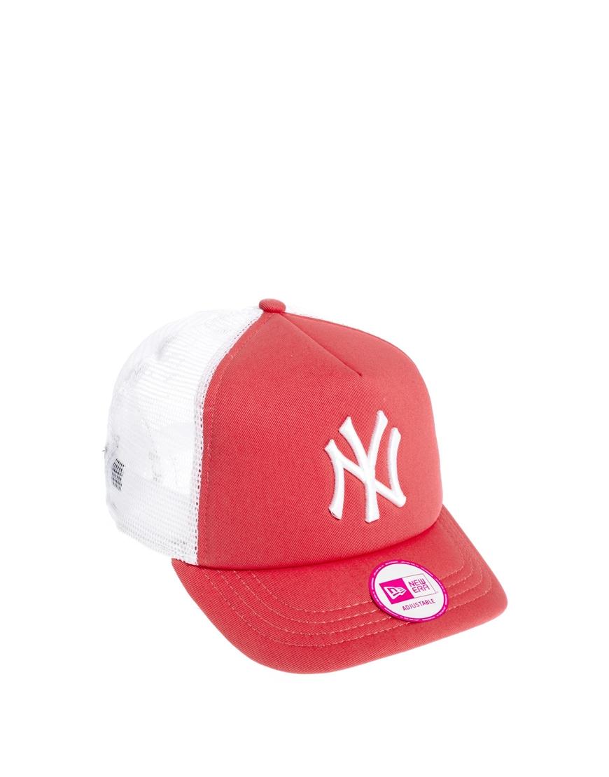b5ee583e085 ... cheap lyst ktz clean new york yankees trucker cap in pink a8392 09abb