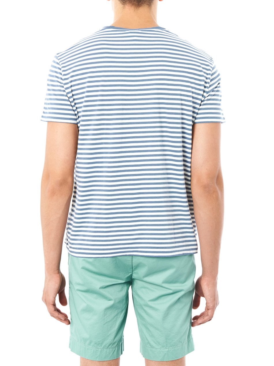 Lyst polo ralph lauren stripe pocket tshirt in blue for men for Polo t shirts with pocket online