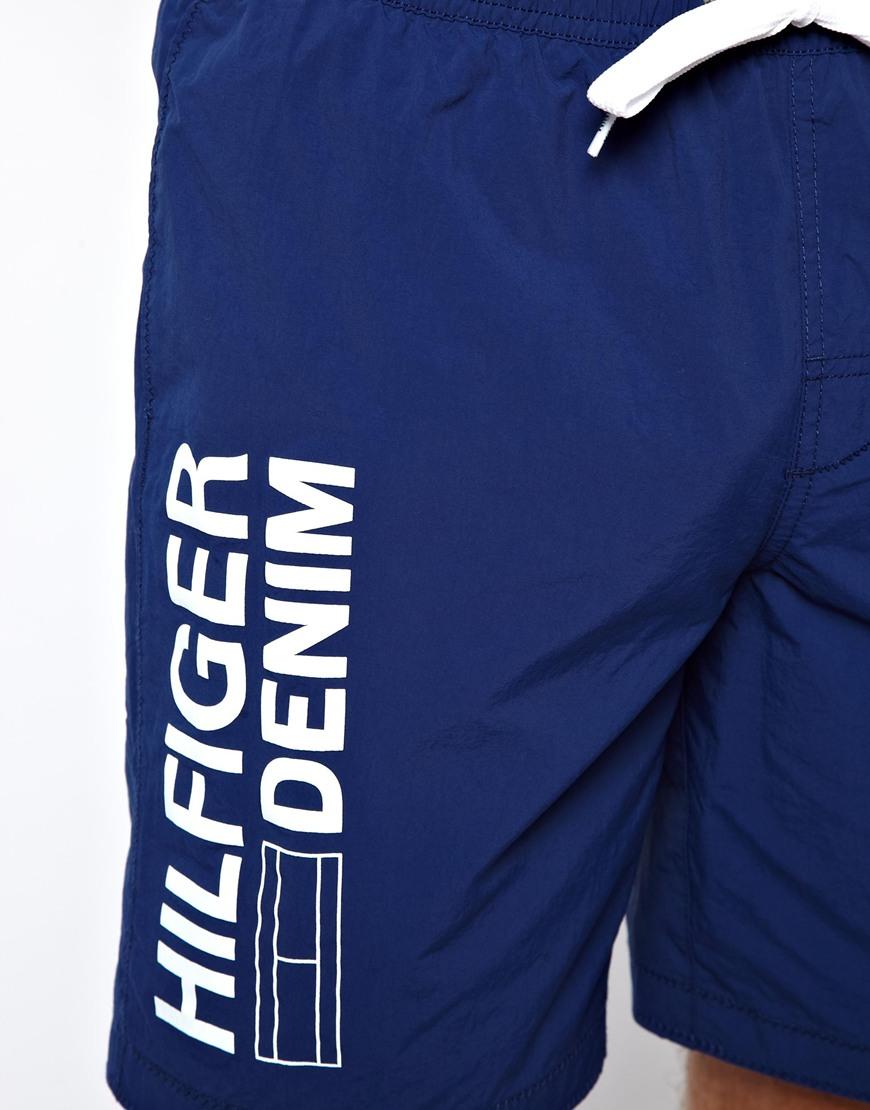 49835ceeb8 Tommy Hilfiger Denim Logo Swim Shorts in Blue for Men - Lyst