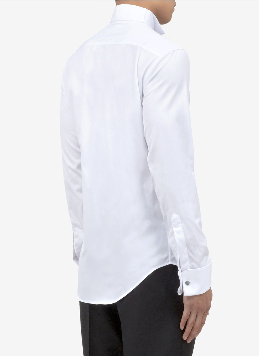Lyst armani cotton tuxedo shirt in white for men 100 cotton tuxedo shirt