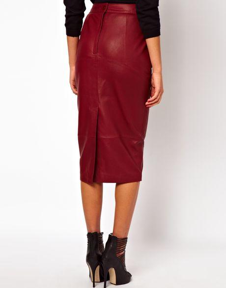 asos asos pencil skirt in leather in black lyst