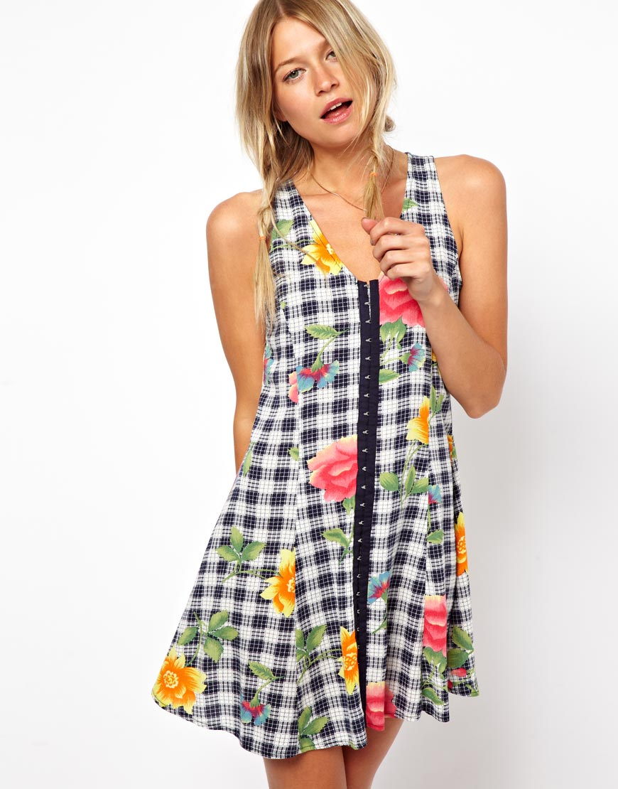 Smock Dress in Check & Floral Print - Multi Asos Curve Outlet Shop For Free Shipping In China Outlet Big Sale urghpvYB4