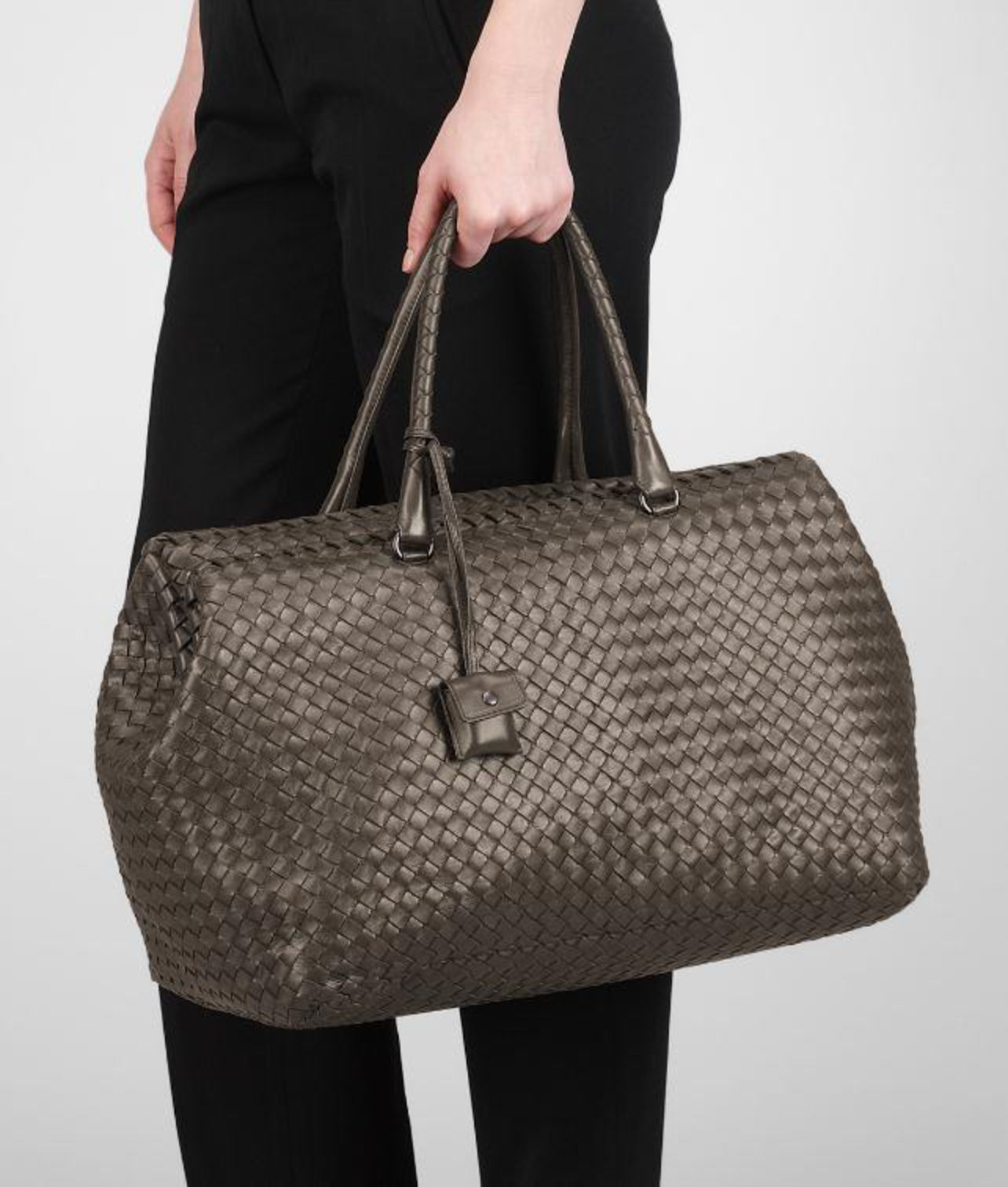 53b2bfa2a2 Bottega Veneta Shadow Intrecciato Nappa Brick Bag in Gray - Lyst