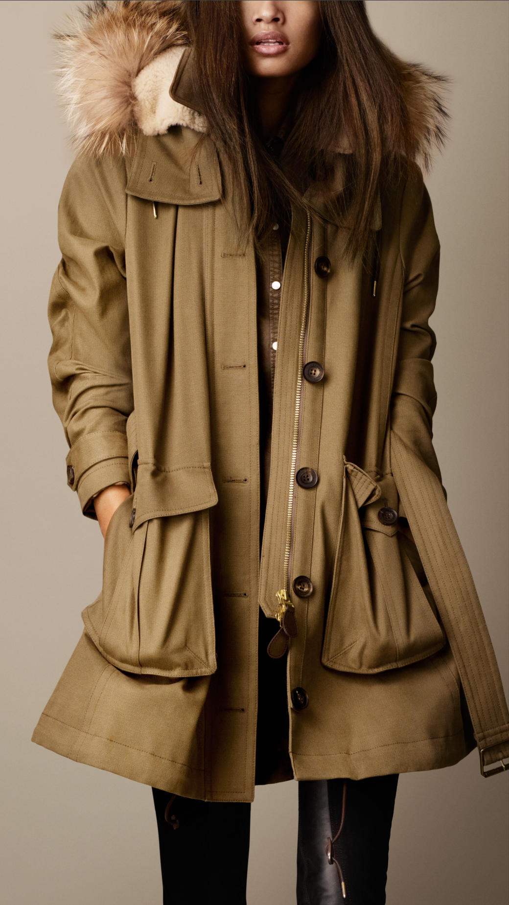 lyst burberry military canvas fur trim parka in brown. Black Bedroom Furniture Sets. Home Design Ideas