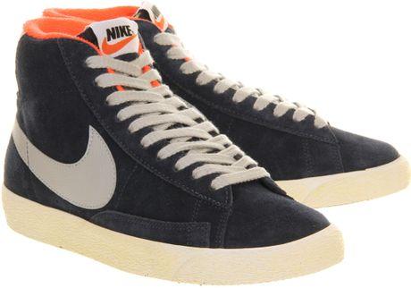 ... Lyst; Nike Blazer Hi Suede Vintage Mid Navy Grey in Blue for Men (navy)  ...