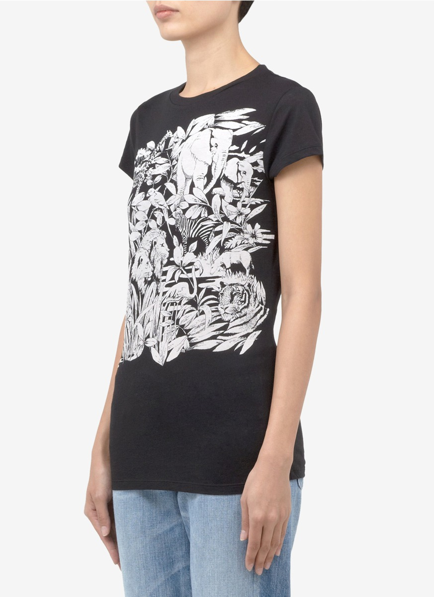 Stella mccartney 39 elephant and leaves 39 printed cotton for Stella mccartney t shirt