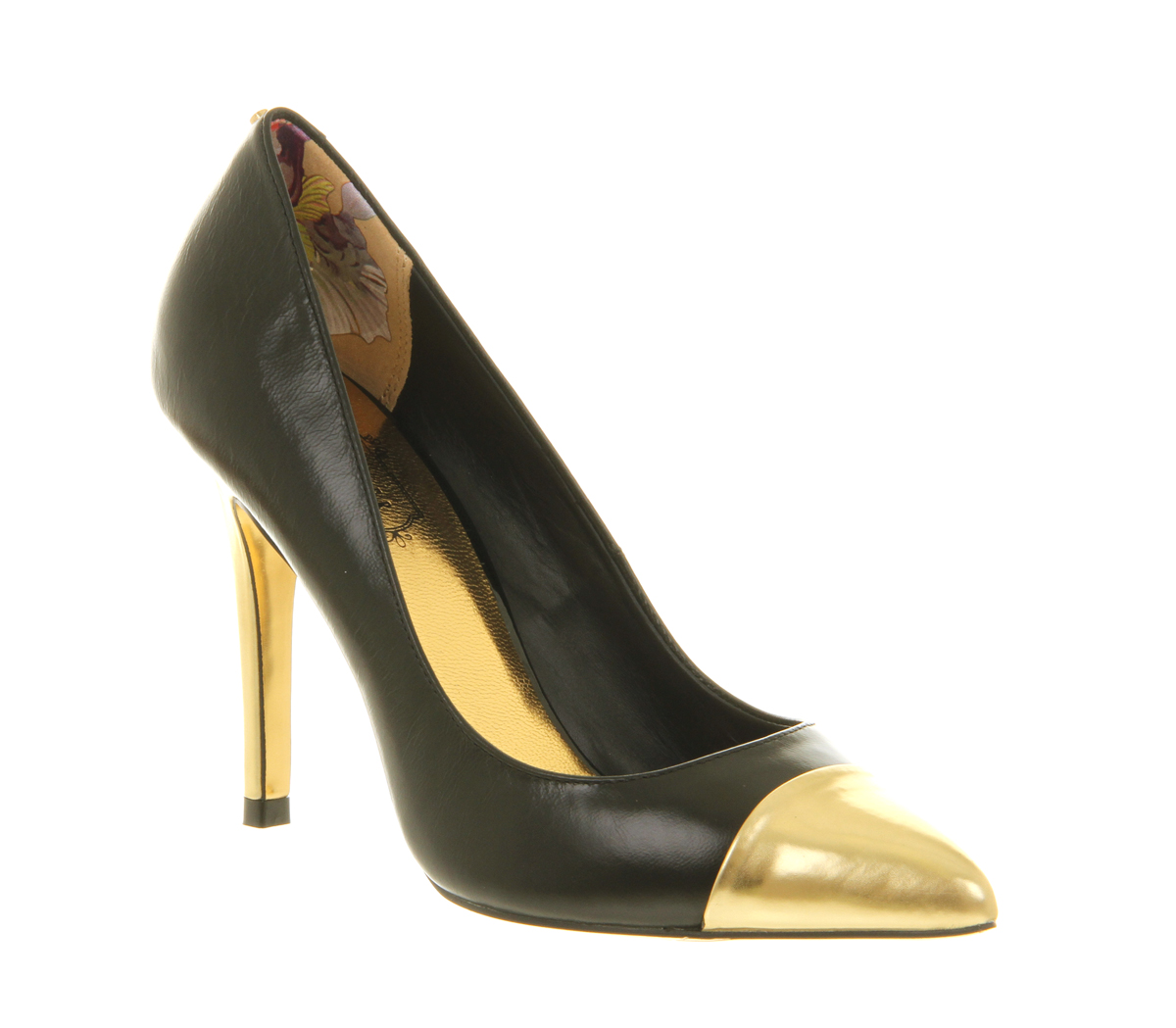 Ted baker Saysa High Heel Court Shoe Black Gold Metallic in Black ...