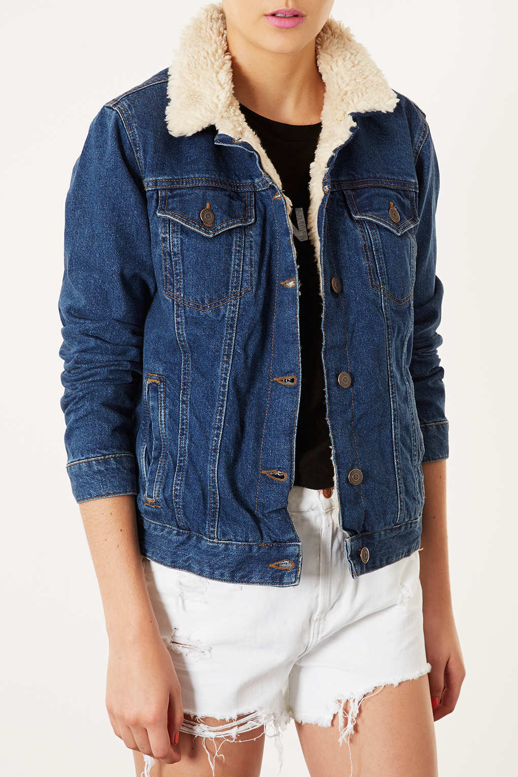 Lyst topshop moto vintage borg denim jacket in blue for Womens denim shirts topshop